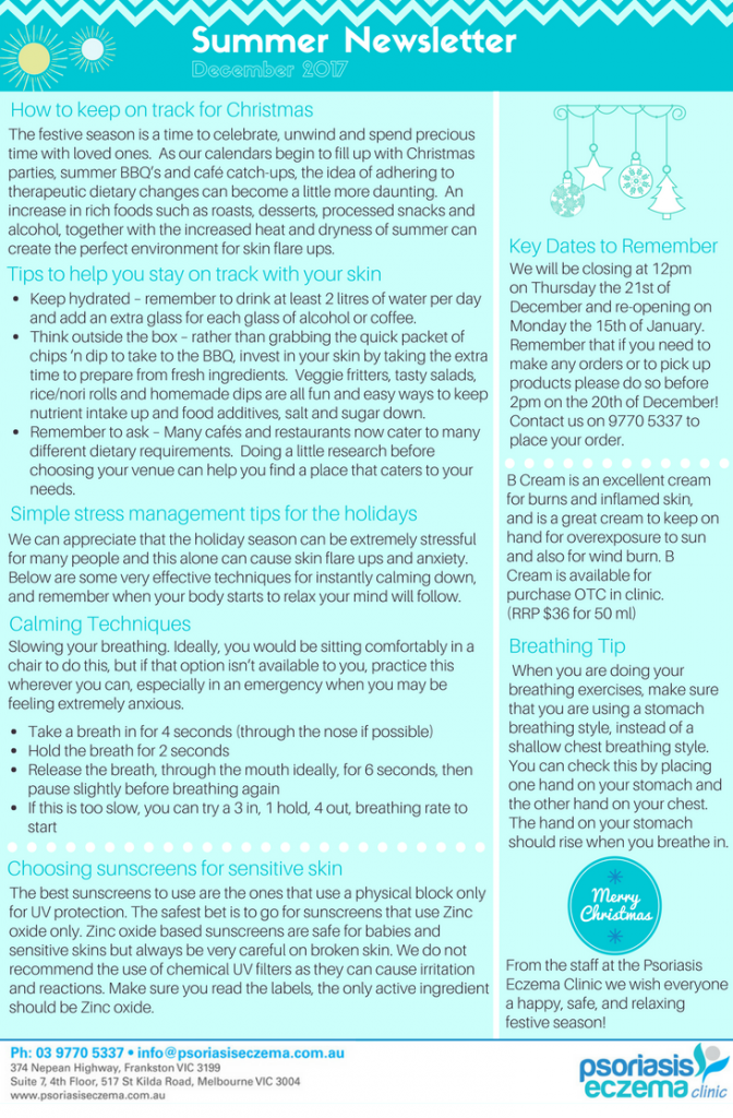 Psoriasis Eczema Clinic Summer Newsletter December 2017